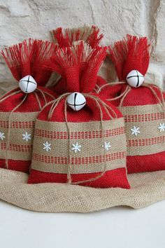 Burlap Gift Bags, Set of FOUR, Shabby Chic Christmas Wrapping, Red and Natural, Jute Webbing and White Metal Snowflakes, White Bell Tie On.