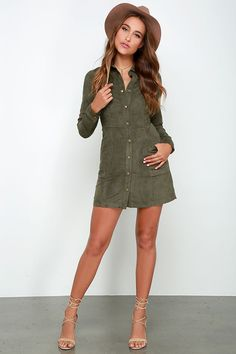 Day of Delight Olive Green Long Sleeve Suede Dress at Lulus.com!