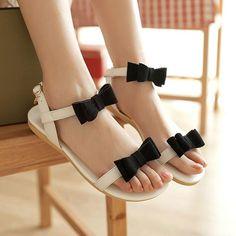 Bowknots Low Heel Ankle Sandal