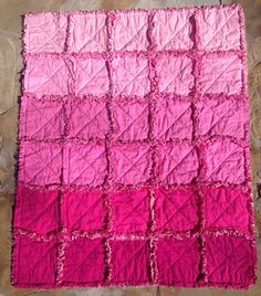 @kathPink ombre rag quilt - pink baby blanket - pink rag quilt