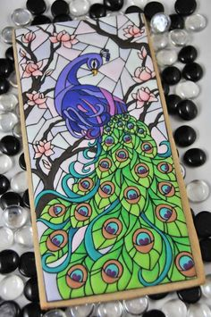 Gorgeous peacock, stained glass cookie by Stephanie Kappel