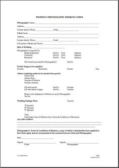 free photography forms pricing guide and order form