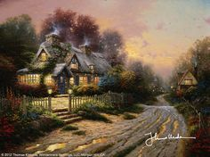 Thomas Kinkade Teacup Cottage painting for sale - Thomas Kinkade Teacup Cottage is handmade art reproduction; You can buy Thomas Kinkade Teacup Cottage painting on canvas or frame. Thomas Kinkade Art, Kinkade Paintings, Thomas Kincaid, Art Thomas, Cottage Art, Beautiful Paintings, Beautiful Sketches, Pretty Pictures, Amazing Art