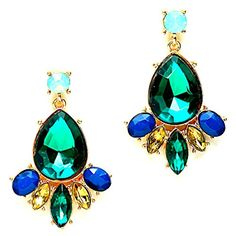 """Affordable Wedding Jewely 1.75"""" Green Navy Blue Mint Glass Crystal Chandelier Gold Post Earrings Pageant Nine, Fashion jewelry http://www.amazon.com/dp/B016PAR65A/ref=cm_sw_r_pi_dp_f9Lmwb122BMXV"""
