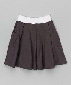 Loving this Dark Gray Pleated Pocket Skirt - Toddler & Girls on #zulily! #zulilyfinds