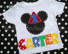 Mickey Mouse birthday tshirt, 1st birthday boy shirt, 2nd birthday tee, hat applique with age on Etsy, $29.95