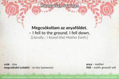 Megcsókoltam az anyaföldet. – I fell to the ground. I fell down.  [Literally::: I kissed (the) Mother Earth.]  https://dailymagyar.wordpress.com/2016/11/26/megcsokoltam-az-anyafoldet/