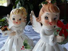 Set of 2 Vintage Josef Originals Christmas Angel Girl Figurines w/ Wreath & Bell | eBay