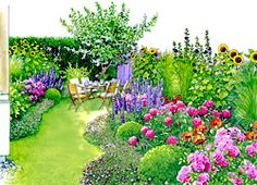 "Garten im Japan- oder Landhausstil The biggest little garden: All season backyard mixes fast-growing annuals with perennials, box, grasses and an apple tree. Evergreen mounds of Geranium X cantabrigiense ""Biokovo"" enclose the borders, blooming from May to Small Garden, Plants, Cottage Garden, Little Gardens, Outdoor Gardens, Planting Hydrangeas, Backyard Trees, Garden Planning, Beautiful Gardens"