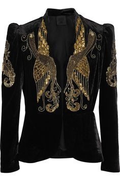 black velvet with gold phoenix Sequin Blazer, Sequin Jacket, Anna Sui, Stuart Weitzman, Velvet Cami, Black Velvet, Beaded Jacket, Velvet Jacket, Velvet Blazer