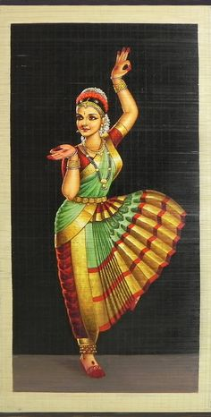 Bharatnatyam Dancer - (Wall Hanging) (Painting on Woven Bamboo Strands)