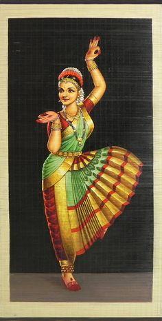 Bharatnatyam Dancer - (Wall Hanging) (Painting on Woven Bamboo Strands)