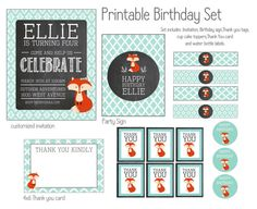 Fox Birthday Party Set. Girl fox theme birthday. Set includes invitation, sign, thank you tags, watter bottle labels and more. on Etsy, $23.49 AUD