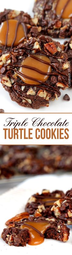 Soft Triple Chocolate Turtle Cookies rolled in mini chocolate chips and pecans then filled with creamy, silky caramel and drizzled with chocolate. AKA heaven.