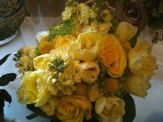 Bride's Bouquet - Buttercream Stock, Gold Crespedia, Yellow Roses, Ranunculas, Yellow Tulips