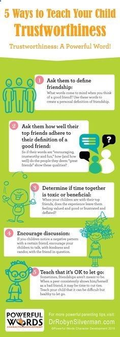 5 Ways to Teach Your Child Trustworthiness #parenting #infographic #drrobyn - Great Parenting Today