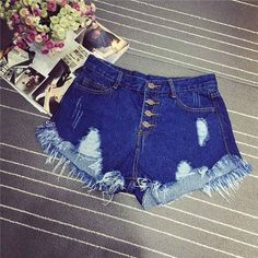 Tengo Summer Women Shorts High Waist Sexy Hole Denim Short Jeans Brand Casual Ripped Shorts for Party Club 6 Colors