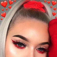 baddie makeup 135 hottest eye makeup looks - makeup Glam Makeup, Skin Makeup, Makeup Inspo, Makeup Inspiration, Red Eye Makeup, Red Eyeliner, Makeup Ideas, Red And Black Eye Makeup, Makeup Tips