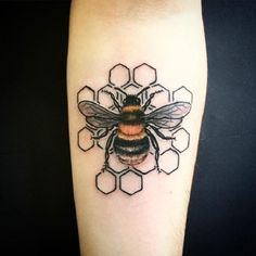 The HoneyComb Maze Bee Tattoo Design. This detailed honeycomb maze bee tattoo design is definitely the perfect piece for your forearm.