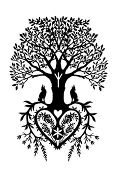 Superb Tree Of Life With Wolfs Tattoo Design