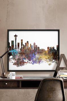 Seattle skyline, Seattle cityscape, Seattle Washington, Seattle Print, Seattle poster, Wall art, Abstract, Travel city poster, Home Decor