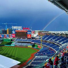 April 7, 2016 - Opening Day at Nationals Park, the home of the Washington Nationals. A rainbow graces Nationals Park in Washington, D.C. during the 2016 home opener.