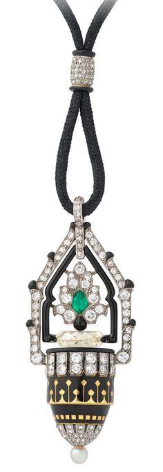 Diamond, Emerald, Pearl , Enamel Pendant-Watch, Janesich, circa 1925.