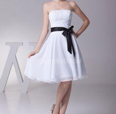 Aline Strapless Black Sash Kneelength White by ChantillyBridal, $79.99
