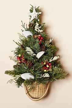 13 Inch Wall Tree with WInter Berries, White Shells, Nantucket Style Basket