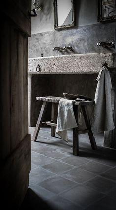 7 Healed Cool Tips: Rustic Aesthetic Interior Design rustic house design. Bad Inspiration, Bathroom Inspiration, Bathroom Ideas, Stone Sink, Tadelakt, Rustic Bathrooms, Bathroom Vintage, Interior Design Tips, Gray Interior