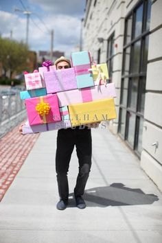 Man carrying presents : available to purchase at GillhamStudios.com #hallmarkstock