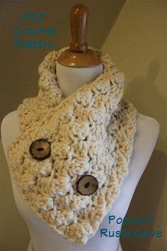 CROCHET PATTERN, Popcorn, scarf neck warmer wrap button up. $4.99, via Etsy.