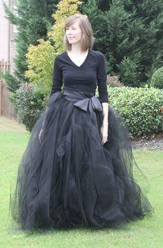 Black adult tutu, long black skirt, sewn tutus, Wide Satin sash, Wedding tutu, Prom dress. $395.00, via Etsy.