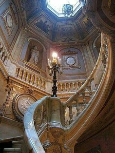 "Yellow onyx staircase inside The Hotel de la Paiva (""Mansion of La Paiva"") in Paris, France. Built between 1856 and 1866 at 25 Avenue des Champs-Elysees by the courtesan Esther Lachmann, better known as La Paiva. She had already acquired a luxurious mansion at 28 Place Saint-Georges in Paris, but dreamt of building another on the Champs-Elysees, which she thought the most beautiful avenue in the world. According to legend, in her youth she had been pushed out of a cab by a hurried customer…"