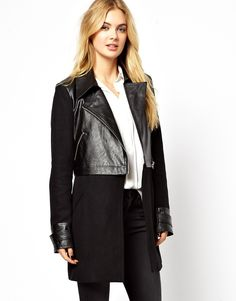 Vila Wool & Leather Look Coat on shopstyle.com