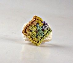 Fine Thread Crochet Fiber Art Ring Sage Yellow Purple Copper