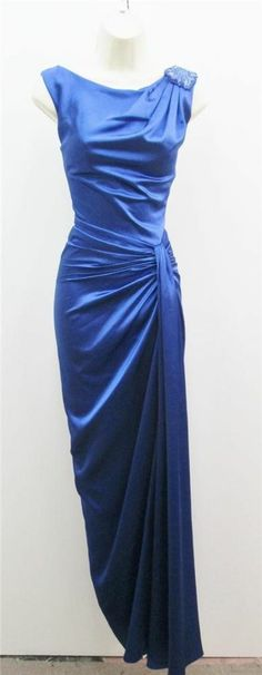 Tadashi Marna Royal Blue Satin Ruched Beaded Full Length Formal Gown