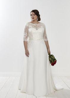 Wedding Dresses For Curvy Women, Plus Size Wedding Dresses With Sleeves, Plus Size Wedding Gowns, Fit And Flare Wedding Dress, Wedding Dress Sleeves, Wedding Dresses Plus Size, Bridal Dresses, Wedding Robe, Boho Wedding