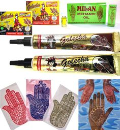 Henna-Set Mehandi Schablonen + Golecha Paste Tuben rot + schwarz á 25g + Öl 4 ml | eBay