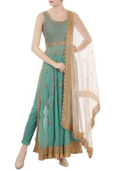 Dusty blue georgette & cotton lycra pearl & zardozi hand embroidered jacket with trousers & blush pink dupatta by Shiba Mir - Shop at Aza Fancy Dress Design, Stylish Dress Designs, Stylish Dresses, Fashion Dresses, Fashion Pants, Designer Party Wear Dresses, Kurti Designs Party Wear, Indian Designer Outfits, Ethnic Outfits