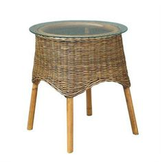 Skjern Rattan Side Table with Glass Top, Natural
