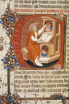 Description: Detail of an historiated initial 'C' of Jerome writing.  Origin: England, S. E. (London?)http://www.bl.uk/catalogues/illuminatedmanuscripts/ILLUMIN