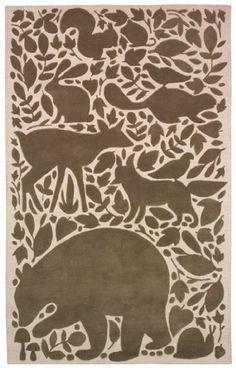 Woodland baby room wool rug