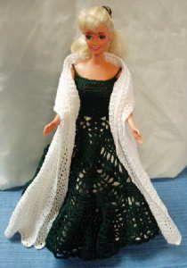 Lacy Evening Shawl Barbie Crochet Pattern