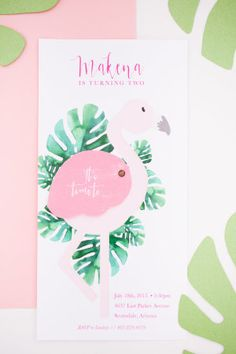 DIY flamingo invititations