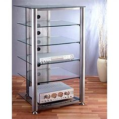 tempered glass bookcase entertainment center | Audio Visual Stand with 6 Tempered Glass Shelves (Silver/Frosty Glass ..