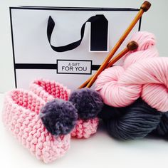 A brilliant craft kit for toasty toes! These adorable knit kit pompom slippers make the perfect craft gift. Craft Kits, Diy Kits, Christmas Gift Guide, Christmas Gifts, Pom Pom Slippers, Knitting Kits, Etsy Store, Crochet Necklace, Weaving