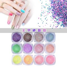 DEESEE(TM) 12pc Nail Art Colorful Sugar Sequins Fluorescent Pearl Powder Nail Decoration -- Check out this great product.
