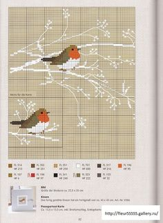 Cross-Stitching Chart: Such a delightful design with robins in Winter - would make a gorgeous afghan (crochet)