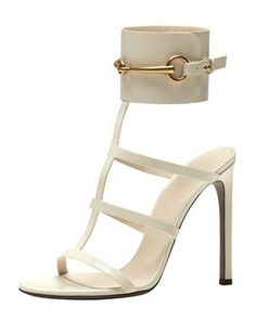 Gucci horse bit off white sandals
